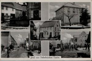 1940 Rathaus mit Brunnen, Schulhaus, Lange Straße (2 mal), Gasthaus zum Ochsen (in der Mitte)